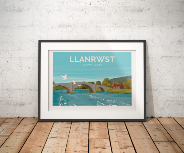 A photo of a framed copy of my modern travel poster of Llanrwst, a small market town on the River Conwy, near Conwy, Wales.