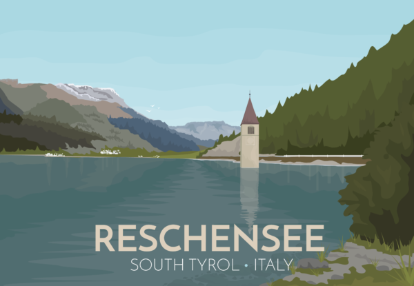 A close-up of my modern travel poster of Reschensee (Lago di Resia in Italian or Lake Reschen) is an artificial lake in the South Tyrol, Italy. The lake is famous for the steeple of a submerged 14th-century church.