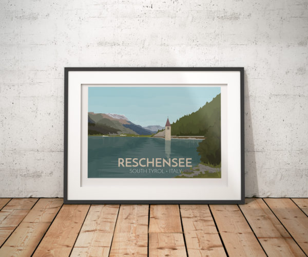 A photo of a framed copy of my modern travel poster of Reschensee (Lago di Resia in Italian or Lake Reschen) is an artificial lake in the South Tyrol, Italy. The lake is famous for the steeple of a submerged 14th-century church.