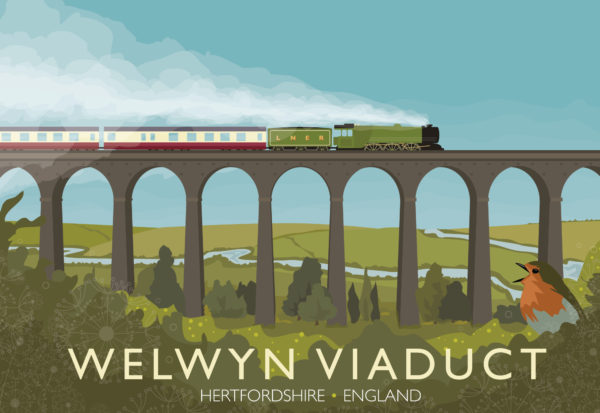 A close-up of my modern travel poster of of the Flying Scotsman crossing the Welwyn Viaduct in Hertfordshire.