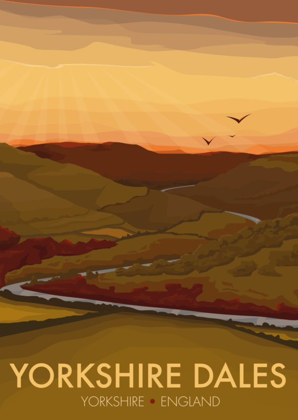 A close-up of my modern travel poster of the drystone walls, moorlands, steep hills and lush valleys that make up the Yorkshire Dales.