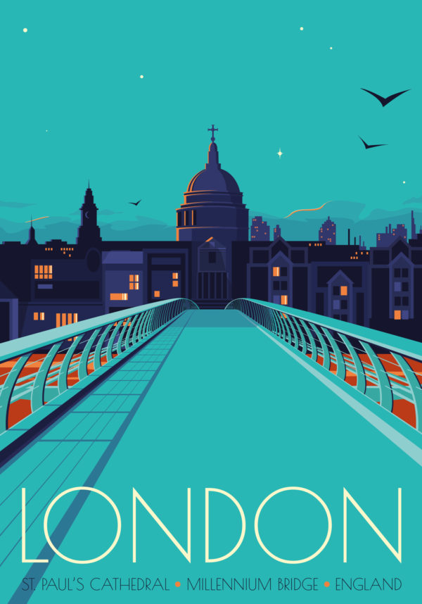 A close-up of my modern travel poster of St Paul's Cathedral and the Millenium Bridge in London at Twilight.