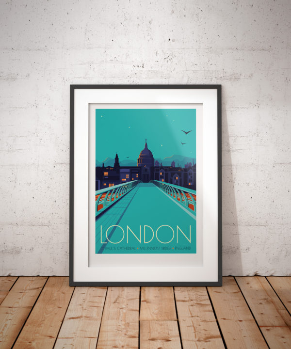A photo of a framed copy of my modern travel poster of St Paul's Cathedral and the Millenium Bridge in London at Twilight.