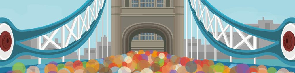London Marathon travel poster print showing runners under Tower Bridge