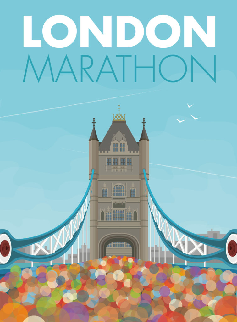 London Marathon travel poster print showing runners under Tower Bridge