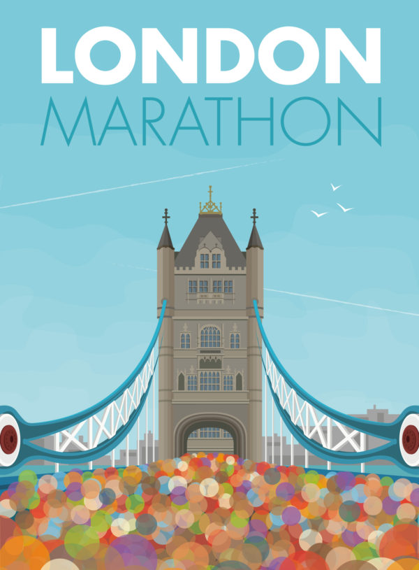 A close-up of my modern travel poster of thousands of people crossing the River Thames at Tower Bridge in London, taking part in the London Marathon.