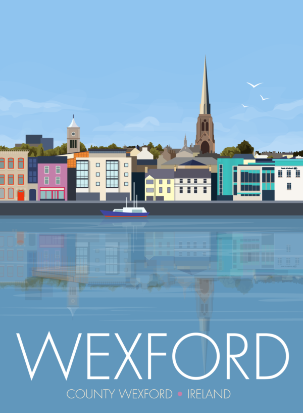 A close-up of my modern travel poster of the waterfront in Wexford, on the East coast of the Republic of Ireland.