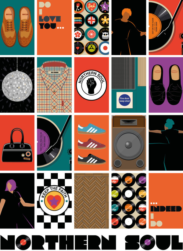 A close-up of my illustrated poster features 20 illustrations that I think capture the essence of Northern Soul in a modern way.