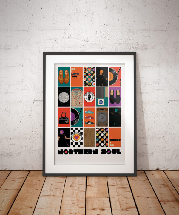A photo of a framed copy of my illustrated poster features 20 illustrations that I think capture the essence of Northern Soul in a modern way.