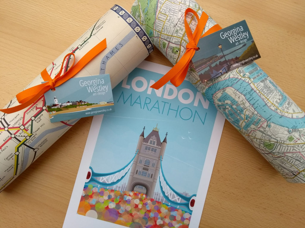 London Marathon print with wrapped tubes