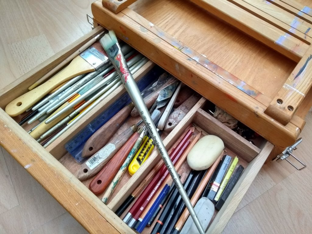 Artist tool box and easel