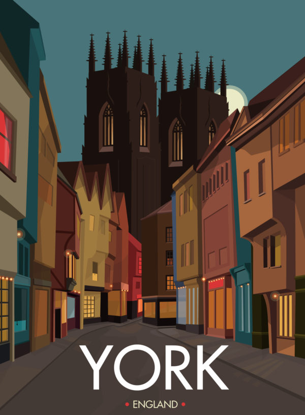 A close-up of my modern travel poster of Low Petergate and York Minster, in the beautiful city of York, England.