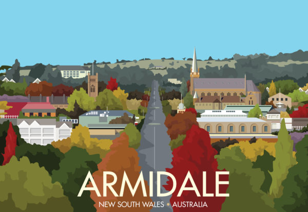 A close-up of my modern travel poster of Armidale, a city in New South Wales, Australia.