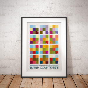 A photo of a framed copy of my illustrated poster inspired the colours of the British countryside throughout the year.