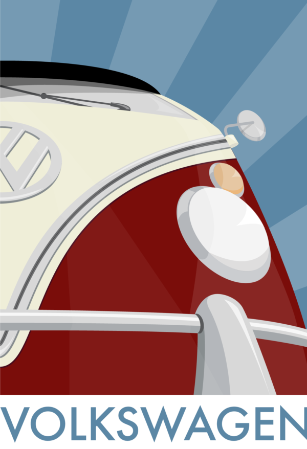 A close-up of my illustrated poster featuring the iconic Volkswagen split-screen campervan.