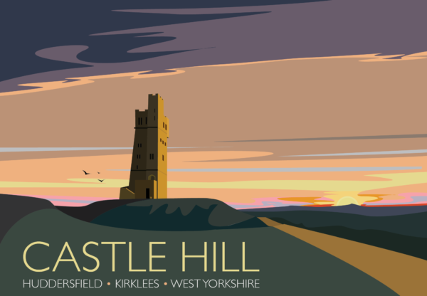 A close-up of my modern travel poster of Castle Hill, a scheduled ancient monument in Almondbury overlooking Huddersfield in the Metropolitan Borough of Kirklees, West Yorkshire, England.