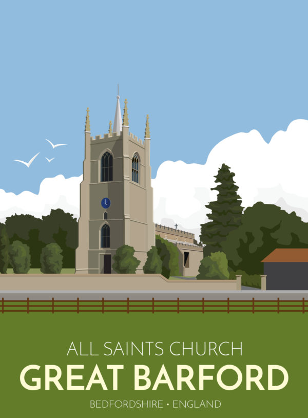 A close-up of my modern travel poster of the 15th century All Saints church in the village of Great Barford, Bedfordshire.