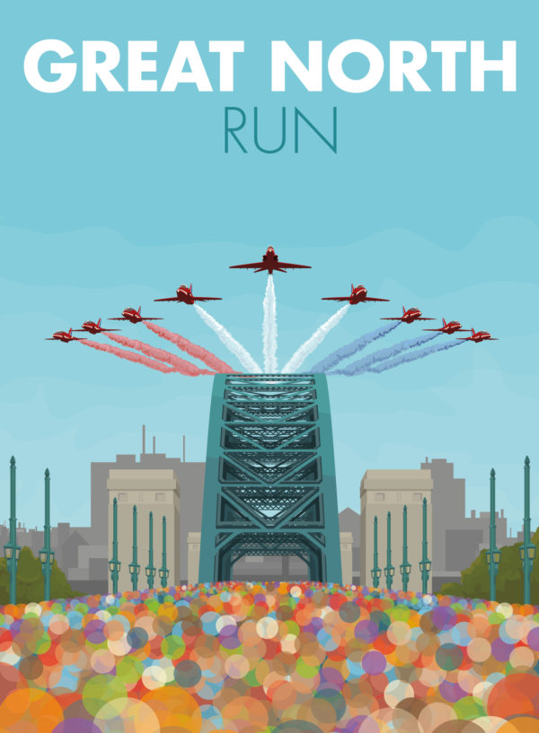 A close-up of my modern travel poster of the Great North Run, the largest half marathon in the world. Starting in Newcastle Upon Tyne and finishing in South Shields, this famous half marathon is well loved for it's early autumn sunshine, it's crackling atmosphere and of course, the Red Arrows flypast.