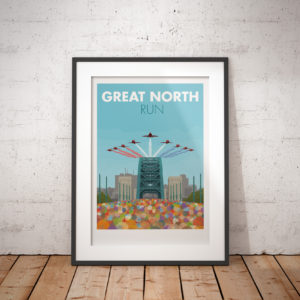 A photo of a framed copy of my modern travel poster of the Great North Run, the largest half marathon in the world. Starting in Newcastle Upon Tyne and finishing in South Shields, this famous half marathon is well loved for it's early autumn sunshine, it's crackling atmosphere and of course, the Red Arrows flypast.