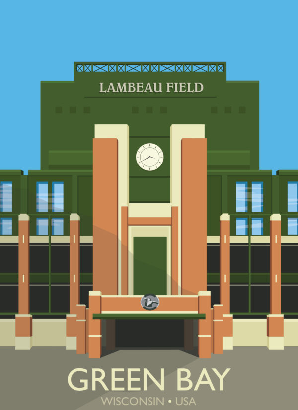 A close-up of my modern travel poster of Lambeau Field, home of the Green Bay Packers NFL team, in Green Bay, Wisconsin, USA.