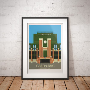 A photo of a framed copy of my modern travel poster of Lambeau Field, home of the Green Bay Packers NFL team, in Green Bay, Wisconsin, USA.