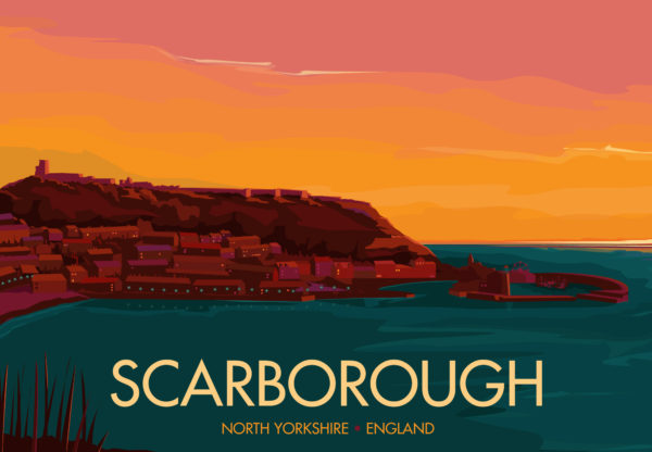 A close-up of my modern travel poster of Scarborough, a town on the North Sea coast of North Yorkshire, England.