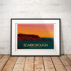 A photo of a framed copy of my modern travel poster of Scarborough, a town on the North Sea coast of North Yorkshire, England.