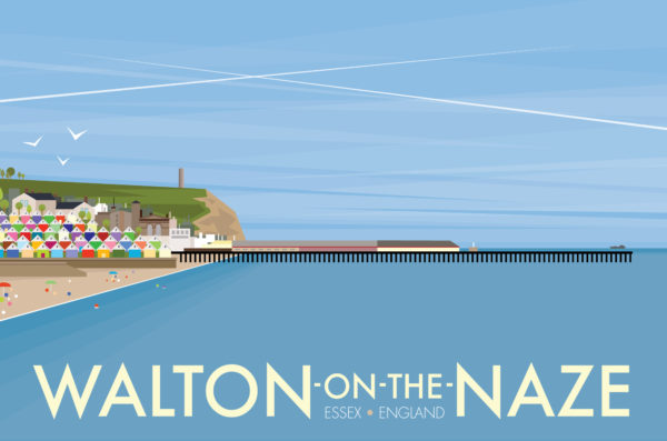 A close-up of my modern travel poster of the pier and beach in the small town of Walton-on-the Naze on the Essex coast.