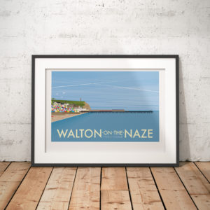 A photo of a framed copy of my modern travel poster of the pier and beach in the small town of Walton-on-the Naze on the Essex coast.