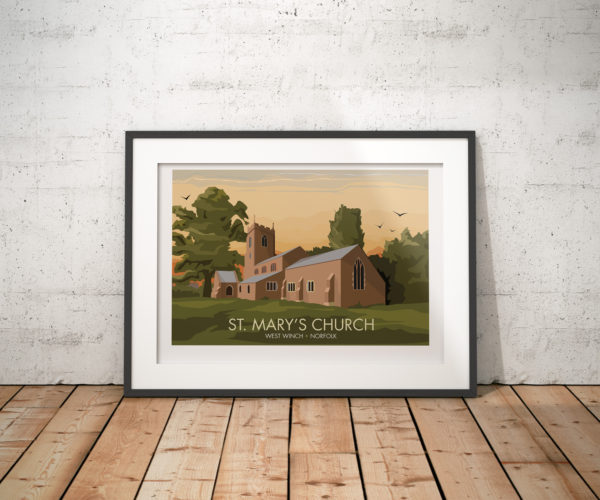 A photo of a framed copy of my modern travel poster of a beautiful church in the sleepy village of West Winch, just outside of Kings Lynn in Norfolk.