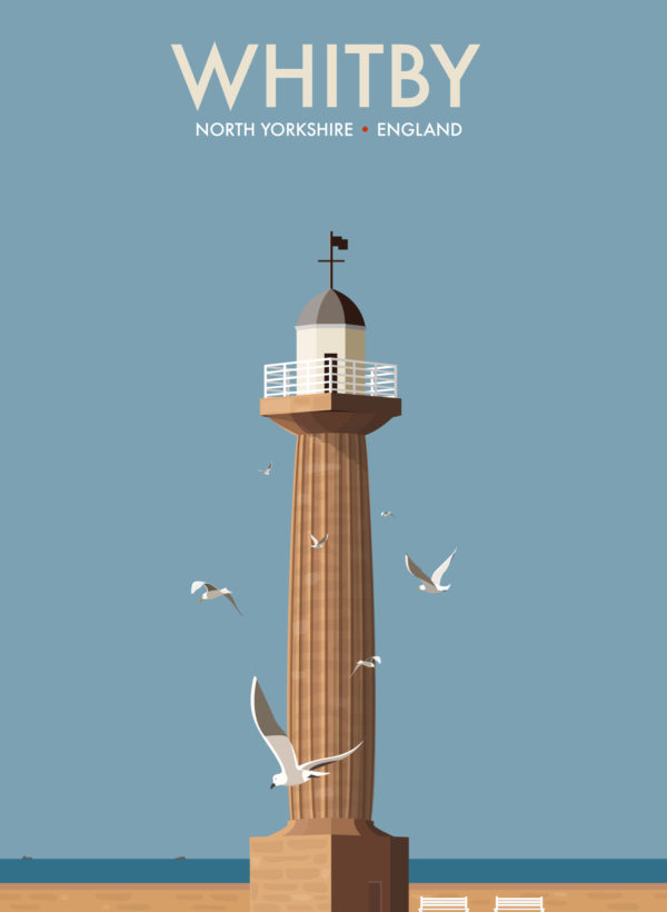 A close-up of my modern travel poster of Whitby's 19th century West Pier Lighthouse.