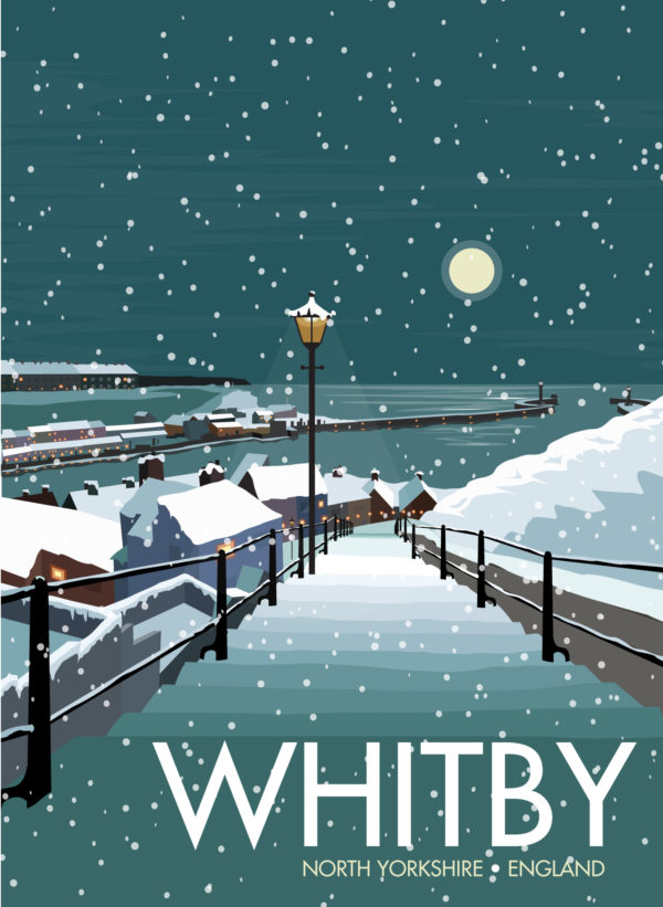 A close-up of my modern travel poster of a moonlight view of a snowy Whitby harbour, on the North East coast of England.