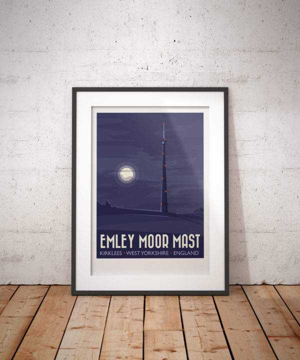 A photo of a framed copy of my modern travel poster of a moonlit Emley Moor transmitting station on Emley Moor, west of the village centre of Emley in West Yorkshire, England. The grade II listed building is the tallest freestanding structure in the United Kingdom.