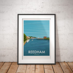 A photo of a framed copy of my modern travel poster of Reedham, a beautiful village situated on the River Yare within the Norfolk Broads.