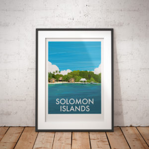 A photo of a framed copy of my modern travel poster of a beech in the beautiful Solomon Islands in the Pacific Ocean.