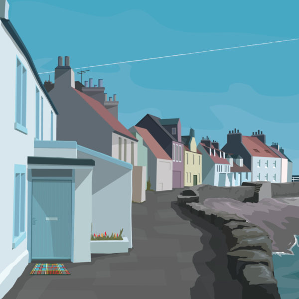 A close-up of my modern travel poster of Pittenweem, a beautiful fishing village in Fife, on the east coast of Scotland.