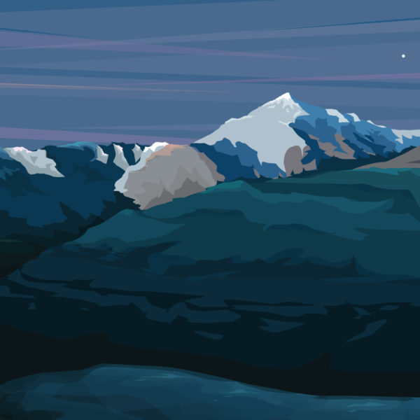 A close-up of my modern travel poster of Mount Snowdon in the heart of Snowdonia in Wales viewed from the Miners track.