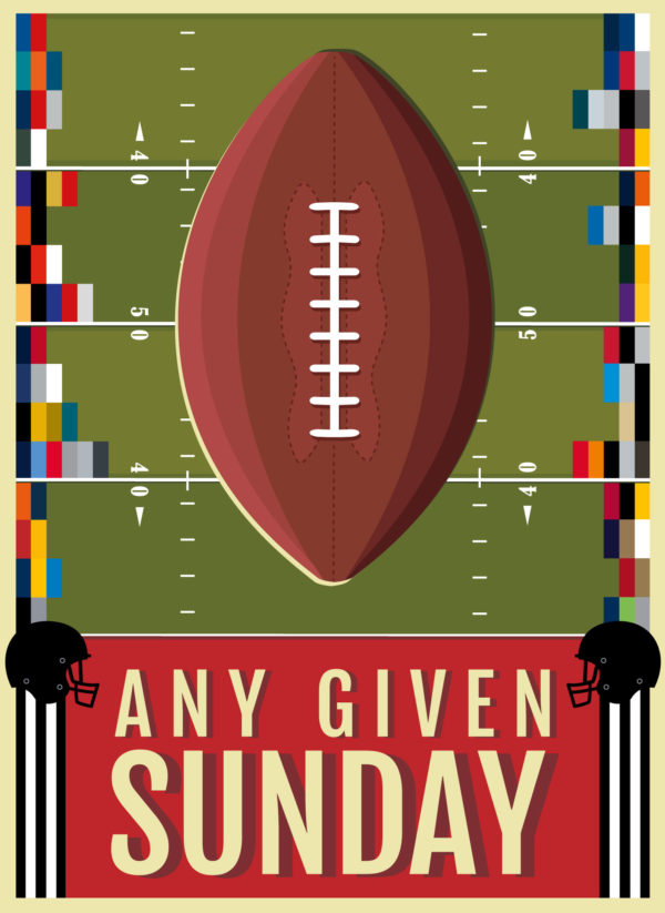 A close-up of my illustrated poster celebrating American Football, and featuring the team colours of all the NFL teams.