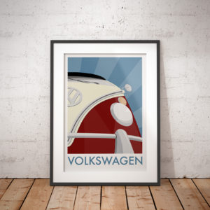 A photo of a framed copy of my illustrated poster featuring the iconic Volkswagen split-screen campervan.