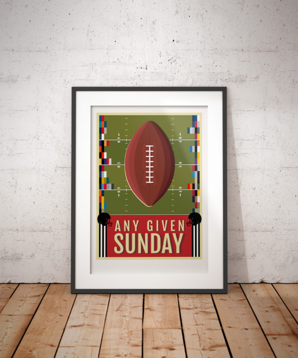 A photo of a framed copy of my illustrated poster celebrating American Football, and featuring the team colours of all the NFL teams.