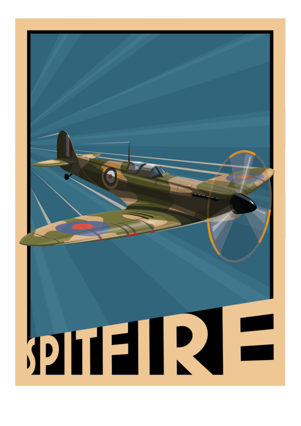 Spitfire poster - blue background