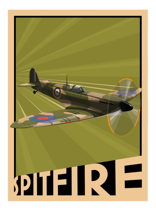 Spitfire poster - green background