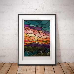 Glastonbury Festival Stained Glass Effect Print